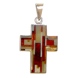 "Beautiful 2"" (5cm) total length inlaid mosaic honey, cream, and cherry amber cross pendant, set in sterling silver.  Each piece is unique so designs vary.  No two designs exactly alike."