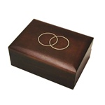 2-Ring Miniature Polish Wooden Box.  Hand made walnut-finish miniature Polish wooden box, with two interlocking inlaid brass ring design on the lid.