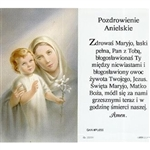 Hail Mary  - Polish - Pozdrowienie Anielskie - Holy Card Plastic Coated. Picture is on the front, Polish text is on the back of the card.
