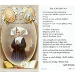 Saint Catherine - Polish - Sw.  Katarzyna - Holy Card Plastic Coated. Picture is on the front, Polish text is on the back of the card.