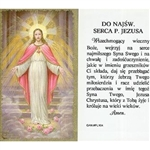 Sacred Heart of Jesus - Polish - Do Najsw. Serca P. Jezusa (SHJ) -  Holy Card Plastic Coated. Picture is on the front, Polish text is on the back of the card.