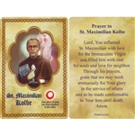 Saint Maximillian Kolbe Prayer Card with 3rd class relic.  St. Maximilian Kolbe is considered a patron of journalists, families, prisoners, the pro-life movement and the chemically addicted.