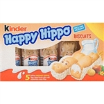 Kinder Happy Hippo Candies. Delightful crispy meringue hippopotamus shaped biscuits with creamy milk and hazelnut filling.