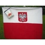 "Deluxe Polar Fleece Blanket size 50"" x 60"" features the Polish flag with the Eagle."
