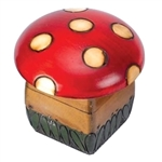 Mushroom Box. This cute box is decorated as a speckled top mushroom sitting grass.