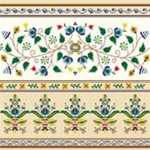 Polish Floral Folk Motif Dinner Napkins (package of 20) - Beige.  Three ply napkins with water based paints used in the printing process.