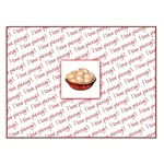 "Delightful little note card, showing a bowl of Polish Pierogi over a background; ""I love pierogi!"" written in red.  Blank inside so you may customize your message.  Use this for any occasion.  Includes red envelope."