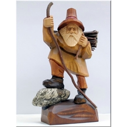 "Polish gnomes ,""Krasnoludki"", have been popularized in Polish children's fairytales for many years. Authors Jan Brzecha and Maria Konopnicka immediately come to mind.  This beautiful hand carved Grandfather Krasnal is on his way back home."