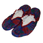 These are beautiful sewn padded slippers with leather bottoms and stretch fit tops.  Ultra light and colorful they feature a Krakow style floral folk pattern.  Soft and comfortable they make perfect house slippers.  Made In Poland.