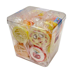 Wonderful assortment of fruit and happy faces fruit flavored lollipops, each individually wrapped, in a plastic display container. Total count: 50 pieces at 65g each.
