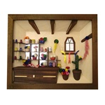 This Polish flower shop is hand made and hand painted.   Nicely detailed with real dried flowers.  Ready to hang.