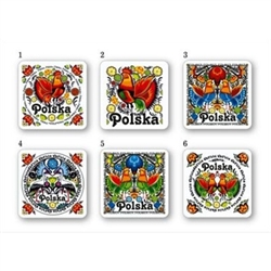 Set of 6 colorful coasters featuring traditional Polish paper cut folk designs(wycinanki) and the word Polska (Poland).  Cork backed.  A great gift!