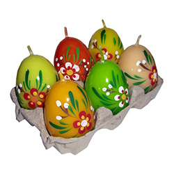Set of 6 assorted candle eggs decorated with pussy willow, pisanki style.  The eggs are even packaged in a traditional Polish cardboard egg carrier you see at the supermarket.