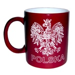 Ceramic Polish coffee mug, which features the emblem of Poland, the Polish crowned eagle and the word Polska (Poland).