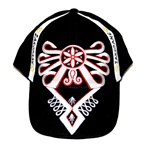 This neat baseball cap features a stylized version of the traditional Polish mountaineer's symbol, the parzenica Features an adjustable cloth and Velcro tab in the back. Designed to fit most people.