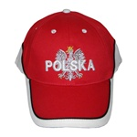 Display the Polish colors of red and white with this handsome looking baseball cap with detailed embroidery work. The front of the cap features an embroidered Polish Eagle made of silver thread with a crown and talons of gold colored thread. On top of the