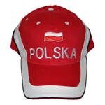 "Display the Polish flag colors of red and white with this handsome looking baseball cap. The front of the cap features the Polish flag and the word ""Polska"" on the front and ""Poland"" on the back.  Features an adjustable cloth and velcro tab in the back. D"