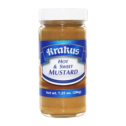 Krakus Hot And Sweet Mustard.  Great on kielbasa sandwiches!