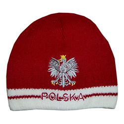 Display your Polish heritage!  Red and white stretch ribbed-knit skull cap with the word Polska (Poland) on the front just below Poland's national symbol, the white eagle.  Easy care acrylic fabric.  Once size fits all.   Imported from Poland.