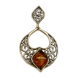 Sterling Silver Filigreee Pendant With Honey Amber Center
