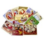 Set of 10 full color glossy Easter cards, religious and secular.  Text varies on each card.