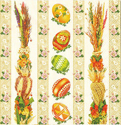 Pisanki and Polish Palms Dinner Napkins (package of 20).   Three ply napkins with water based paints used in the printing process.  The pattern appears on all 4 quarters of this napkin.