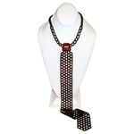 "Gorgeous woven cherry amber necklace/necktie.  Tie length is 18.5"" (47cm).  All small beads are faceted."