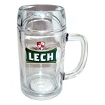 Lech Brand Beer Stein, one of Poland's most popular beers. According to legend Lech was the prince who founded the Polish state.   This is a 1/2 liter capacity tall glass stein.  The glass is made in Austria and stamped in Krosno, Poland.
