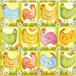 Chickens, Butterflys and Pisanki Dinner Napkins (package of 20).   Three ply napkins with water based paints used in the printing process.  The pattern appears on all 4 quarters of this napkin.