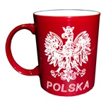 This attractive ceramic mug features the Polish Eagle on one side and a map outline of Poland on the other.