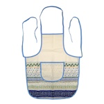 "Polish Stoneware Apron, in white cotton.  Front panel has a 8.5"" x 7.5"" (21.5cm x 19cm) pocket.  This is the same pattern and material used to make our stoneware tablecloths."