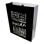 "How many different ways are there to say ""Poland""?  These delightful gift bags are one way to find out.  Glossy paper with cloth handles, cardboard bottom insert for added strength and all made in Poland."