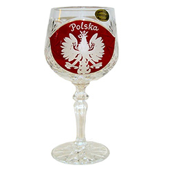 "Genuine brilliant Polish 24% lead crystal hand cut with the Polish Eagle on a red shield and the word ""Polska"" above. Price is per piece."