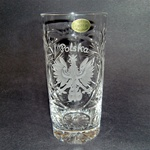 "Genuine brilliant Polish 24% lead crystal hand cut with the Polish Eagle and the word ""Polska"" above. Price is per piece."