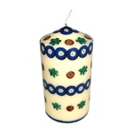 The original Boleslawiec candle, hand decorated in the unique stamping technique.  It matches perfectly the original stamp-decorated Boleslawiec ceramics.