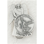 Carry St Michael the Archangel while you travel in your vehicle.  The back has a spring clip that slides on to the windshield visor.