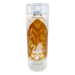 "Amber colored cased crystal is a Polish specialty.  Hand blown, cut and polished from the ""Julia"" factory in Poland,  this beautiful pillar shaped vase features a swan on one side and poppies on the other. Beautiful etching."