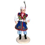 Within the Krakow area are specific regions with their own unique costume details and variations.  The costume from the Brzeski region is particularly striking. These dolls are  clothed in authentic regional folk costumes, as certified by the Polish Minis