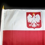 "11"" x 18"" Polish Flag With Eagle On A Wooden Stick. Perfect size flag for cemeteries, backyards, parades and festivals. Please note that due to the size of this item Fedex 2nd Day and Next Day requests will incur and additional charge. Please e-mail or pr"
