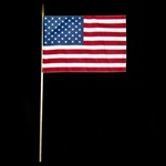 "11.5""  x 17"" U.S. Flag On A Wooden Stick.  Perfect size flag for cemeteries, backyards, parades and festivals."