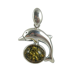 Green Amber Color Sterling Silver Dolphin Pendant.   Honey colored amber when painted black on one side changes the color on the other side to appear green.