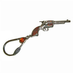 Honey Amber Silver Revolver Key Chain
