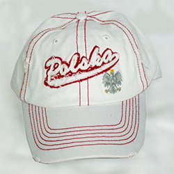 Display the Polish colors of red and white with this distressed looking cap with detailed embroidery work.   The front of the cap features a silver Polish Eagle with gold crown and talons.  Features an adjustable  metal tab in the back.  Designed to fit m