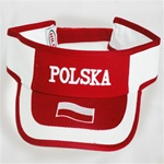 This attractive visor feature the word POLSKA (Poland) embroidered on the front directly above the Polish flag.  Features an adjustable  Velcro tab in the back.  Designed to fit most people.
