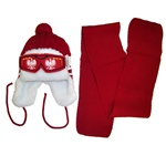 Handsome snow bonnet make a perfect baby gift. Polish Eagle Faux Ski Goggles across the front.  Too cute!!  Easy care acrylic knit fabric. Polyester lining.  One size fits all babies.  Made in Poland.