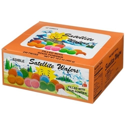 An old fashioned treat enjoyed by kids and grown-ups alike!  They're not Polish but we remember these from our childhood at the local Polish markets.  Made in Belgium these multi-colored wafers dissolve in your mouth and reveal a sour fruit powder surpris