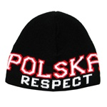 Display your Polish heritage!  Black stretch ribbed-knit skull cap with the word Polska (Poland) and Respect on the front.  Easy care acrylic fabric.  Once size fits all.  Imported from Poland.