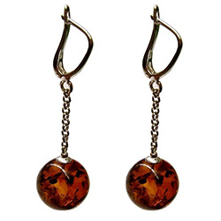 Cognac Amber Ball Earrings, with European lever clasp.