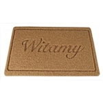 Witamy says it all to your guests. This traditional Polish greeting means welcome!  This is a sturdy yet light weight mat that can be used inside or outside.  Extremely durable and will not fray.  Rubber non-skid backing.  Easy to clean or vacuum.  Resis