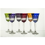 Beautiful set of six crystal tulip shaped wine glasses.  Classic diamond cut pattern all done by hand in Poland.  Six different colors in a set.